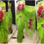 Banan Leaves color Jamdani shari Applique Work on Jamdani Shari