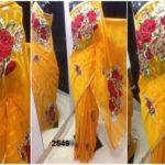 Matching Deep Orange yellow color Jamdani shari Applique Work on Jamdani Shari