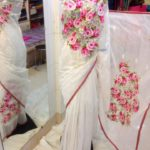 Matching White color Jamdani sharee & Pink Applique Work on Jamdani Shari