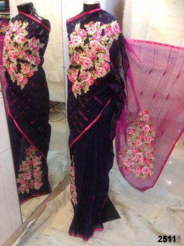 Navyblue color body & Pink color Anchol. Applique Work on Jamdani Shari