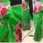 Parrot color Jamdani sharee & Red color work Applique Work on Jamdani Shari