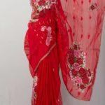 Red color Jamdani Shari Applique Work on Jamdani Shari