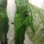 olive All over Work On Jamdani Shari. Beautiful and gorgeous design