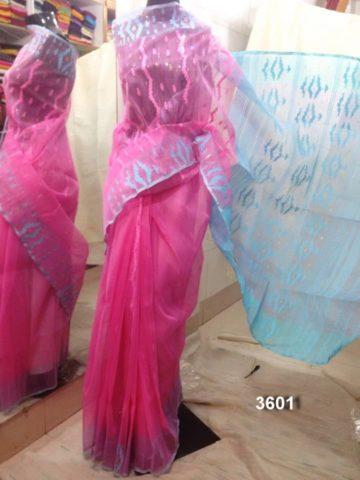 pink & skyblue All over Work On Jamdani Shari. Beautiful and gorgeous design.