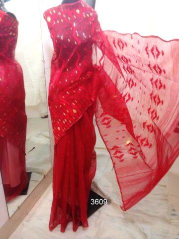 red All over Work On Jamdani Shari. Beautiful and gorgeous design.